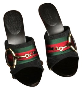 Gucci black/red/green/gold Mules