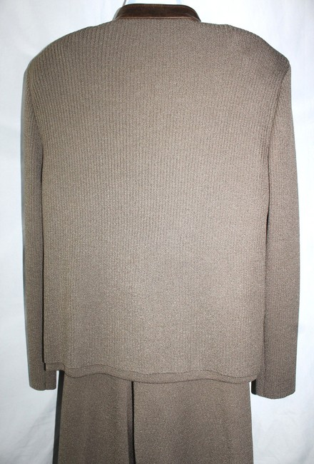 St. John ST. JOHN SPORT LEATHER TRIM RYE KNIT PANT SUIT XL
