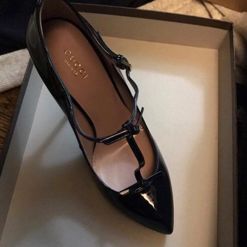12760a7e4e84 Gucci Beverly T-strap In Patent Leather Vernice Crystal Pumps Size US 8  Regular (M