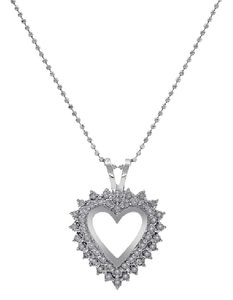 Avital & Co Jewelry 0.50 Carat Round Cut Diamond Heart Shape Necklace 14K White Gold