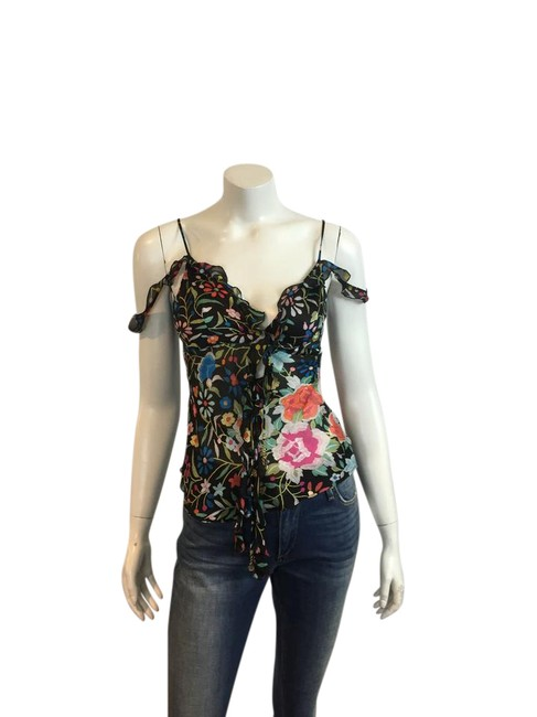 Roberto Cavalli Silk Snake Charm Top black multicolor