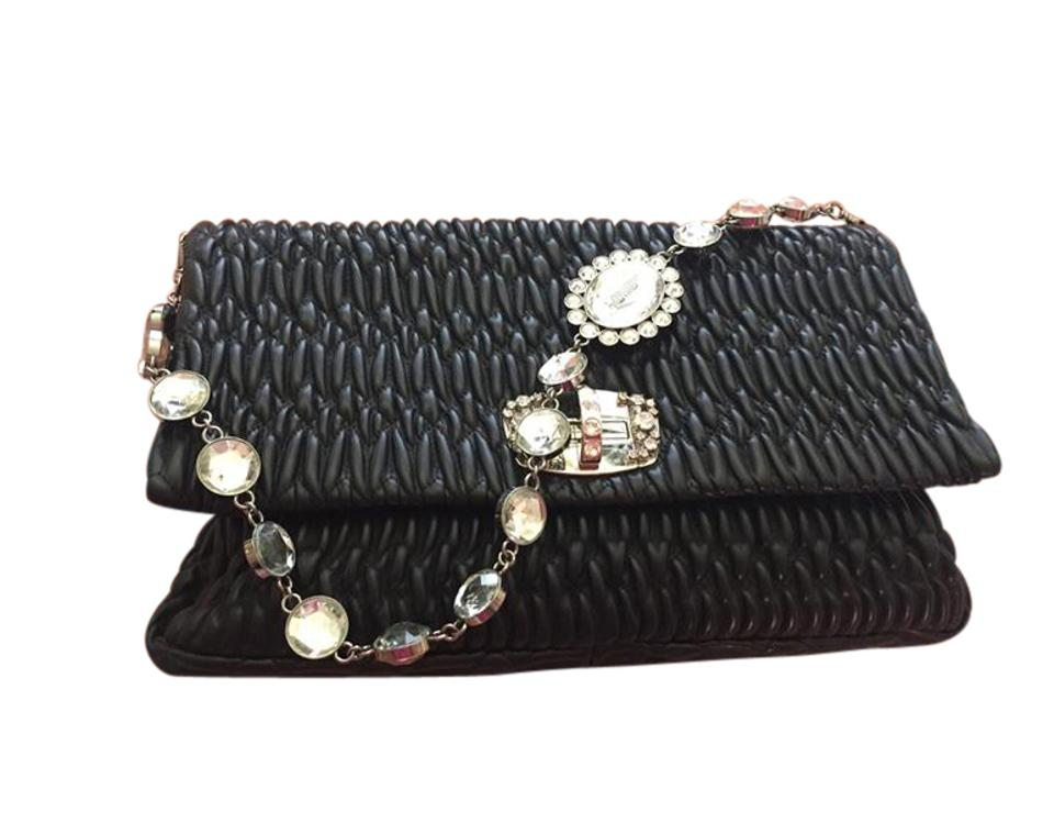 Miu Miu Nappa Matelasse Crystal Or Clutch Black Leather Shoulder Bag ... 937766e410df2