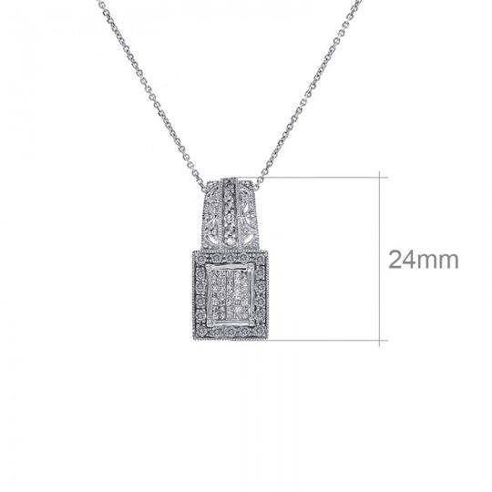 Avital & Co Jewelry 0.75 Carat Round Cut And Princess Cut Diamonds Necklace 14K White Gold