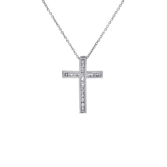 Preload https://item2.tradesy.com/images/avital-and-co-jewelry-14k-white-gold-030-carat-baguette-cut-diamonds-womens-cross-necklace-21544316-0-1.jpg?width=440&height=440