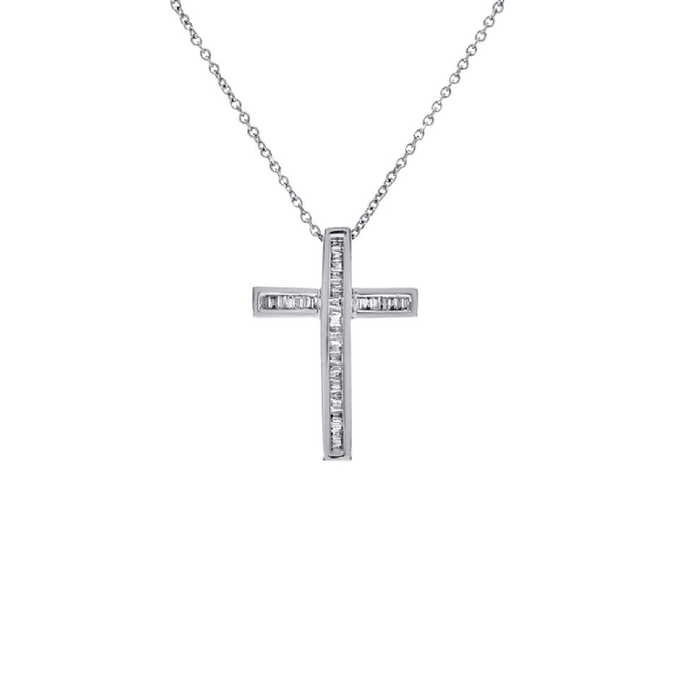 Avital co jewelry 14k white gold 030 carat baguette cut diamonds avital co jewelry 030 carat baguette cut diamonds womens cross necklace 14k white gold aloadofball Image collections