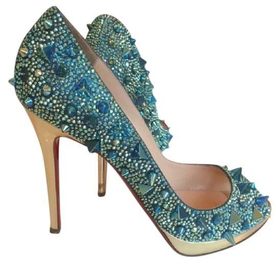Preload https://item3.tradesy.com/images/christian-louboutin-green-gold-spiked-heels-pumps-size-us-105-narrow-aa-n-21544352-0-1.jpg?width=440&height=440
