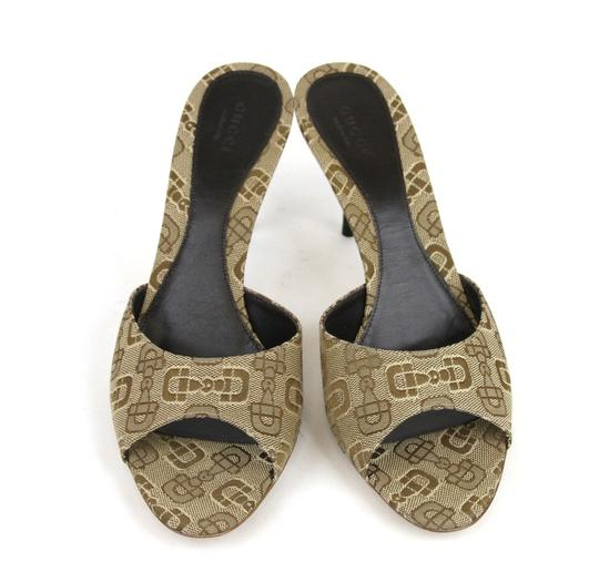 Gucci Horsebit Canvas Slides Beige Sandals