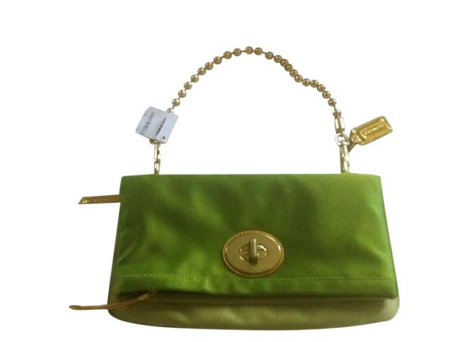 Item - Fold-over with Optional Gold Chain. Never Used. Lime Green Satin Clutch