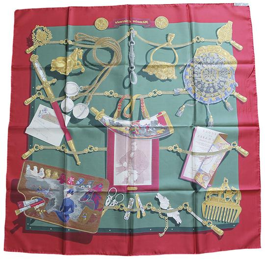 Hermès Hermes 100% Silk Memoire d'Hermes Red/Green/Gold Scarf