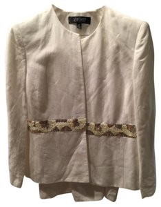 Kasper (linen) 3 piece (Skirt jacket and shell) white Kasper small muility color pearl like beads around mid section of jacket