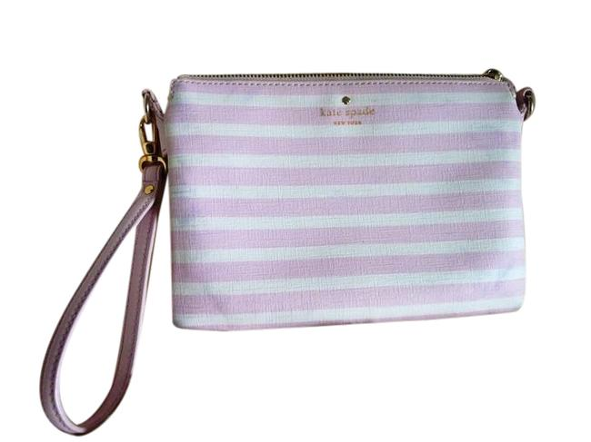 Item - Vegan Striped White and Light Purple Faux Leather Wristlet