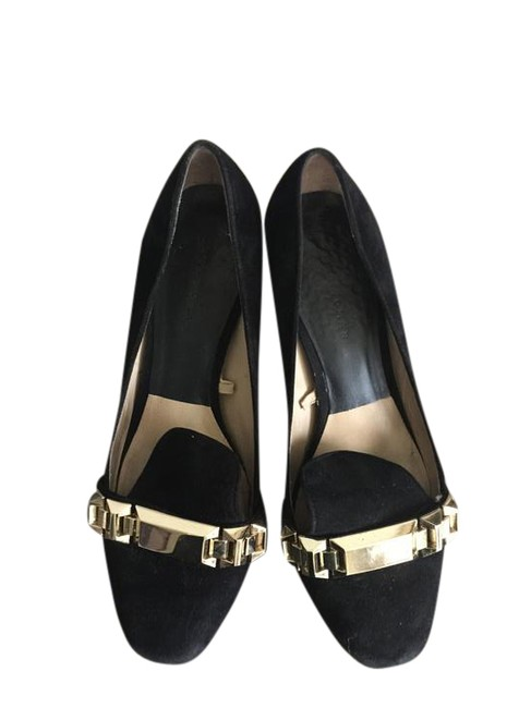 Zara Black with Gold Buckle Suede Pumps Size US 7.5 Regular (M, B) Zara Black with Gold Buckle Suede Pumps Size US 7.5 Regular (M, B) Image 1
