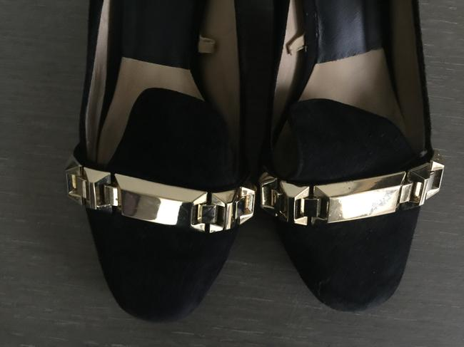 Zara Black with Gold Buckle Suede Pumps Size US 7.5 Regular (M, B) Zara Black with Gold Buckle Suede Pumps Size US 7.5 Regular (M, B) Image 2
