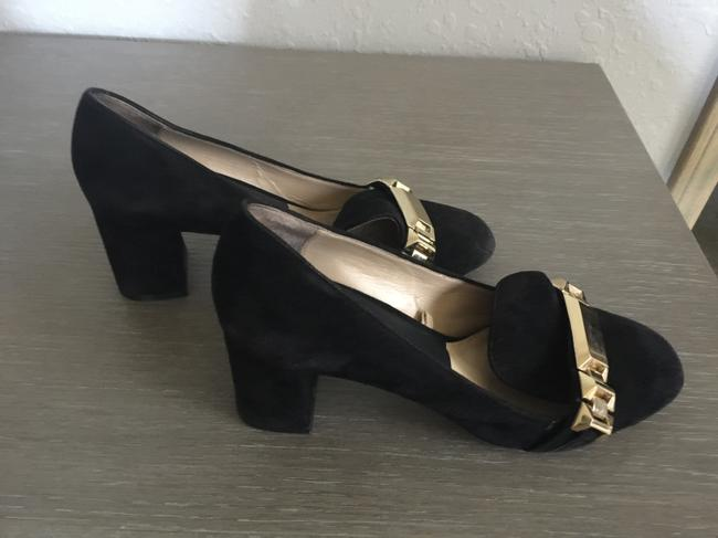 Zara Black with Gold Buckle Suede Pumps Size US 7.5 Regular (M, B) Zara Black with Gold Buckle Suede Pumps Size US 7.5 Regular (M, B) Image 3