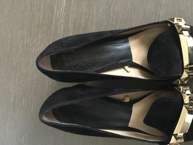 Zara Black with Gold Buckle Suede Pumps Size US 7.5 Regular (M, B) Zara Black with Gold Buckle Suede Pumps Size US 7.5 Regular (M, B) Image 5