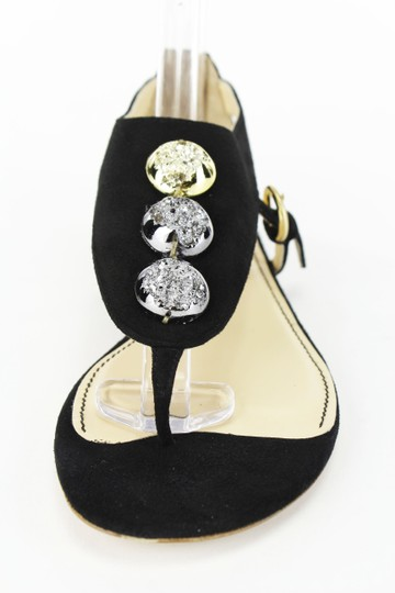 Jerome C. Rousseau Open Toe Metallic Embellished Suede Black Sandals