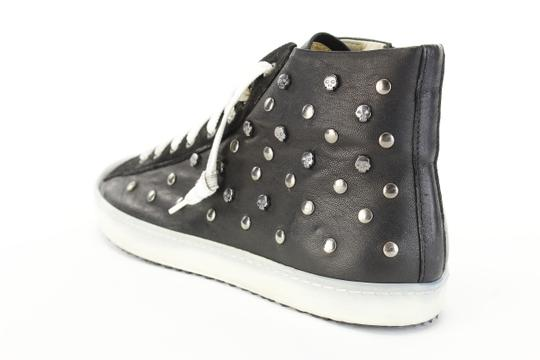 STOKTON Embellished Studded Lace Up Sneakers Black Athletic