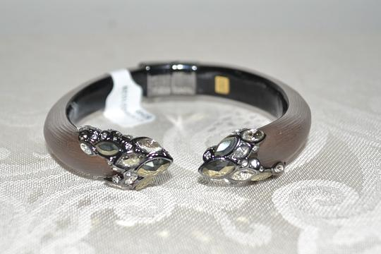 Alexis Bittar ALEXIS BITTAR Crystal Mosaic Bypass Hinged Lucite Bracelet Mocha