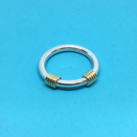Tiffany & Co. Tiffany & Co. Sterling Silver Double Coil Ring with 18k Yellow Gold