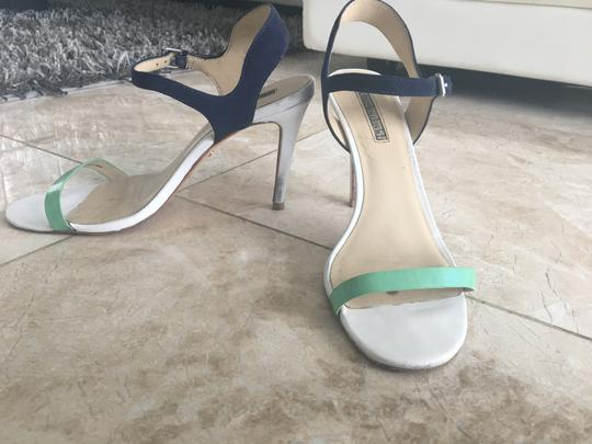 Charles David Turquoise Simple Minimalistic White, Teal & Dark Blue Sandals