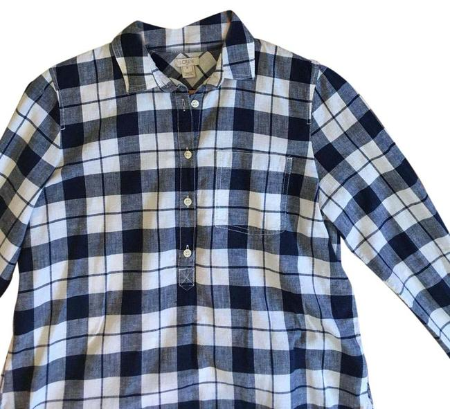 J.Crew Plaid Popover Button Front Longsleeve Cotton Button Down Shirt Navy, White