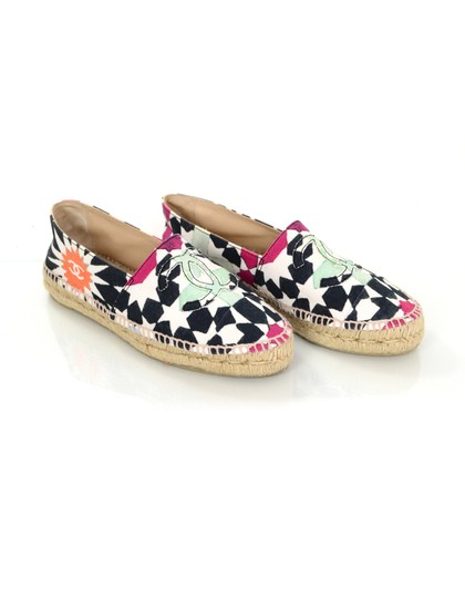 Chanel Star Print Canvas Espadrilles Multicolor Flats