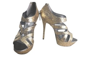 bebe Glitter Unique Gold Sparkle Platforms