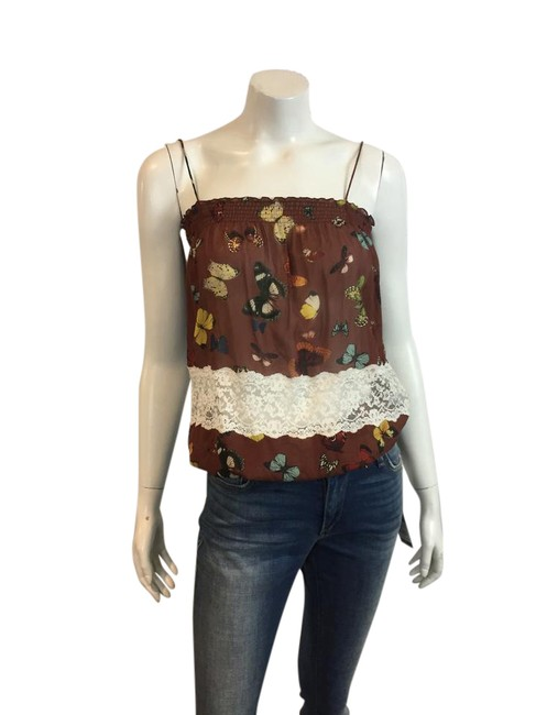 Dolce&Gabbana D & Butterflies Silk Tank Top BROWN