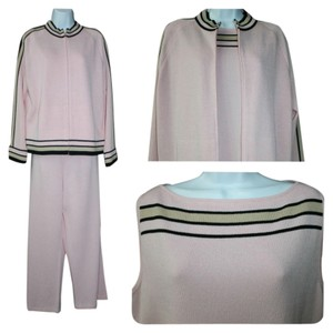 St. John ST. JOHN SPORT BY MARIE GRAY BLACK TRIM 3-PC. PINK KNIT PANT SUIT L