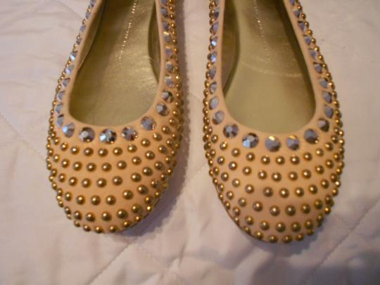Giuseppe Zanotti Swarovski Crystals Rounded Studs Elegant Versatile Made In Italy Pink Flats