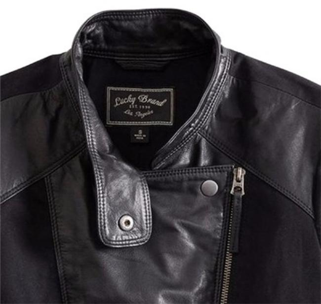 Lucky Brand Leather Mix Motorcycle Jacket