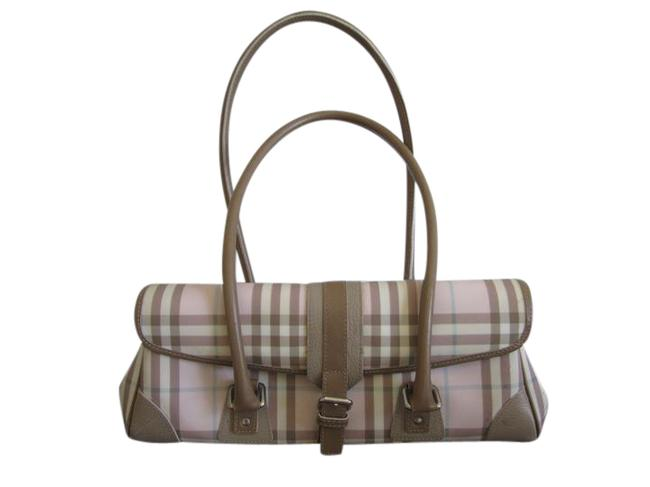 Burberry London Canvas Pink and Beige Satchel Burberry London Canvas Pink and Beige Satchel Image 1