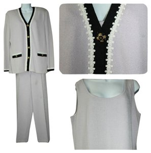 St. John ST. JOHN COLLECTION ORCHID 3-PC. KNIT PANT SUIT 14
