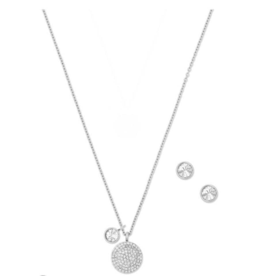 Michael kors silver clear tone pave dome pendant stud earrings set michael kors nib michael kors silver tone pave dome pendant stud earrings set aloadofball Images