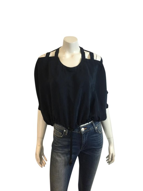 Preload https://img-static.tradesy.com/item/21545287/yigal-azrouel-navy-blue-36617-silk-crop-cut-out-sleeves-0-3-blouse-size-0-xs-0-1-650-650.jpg