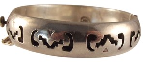 Heavy Sterling Silver Mexican Bangle Pierced-Design Bracelet