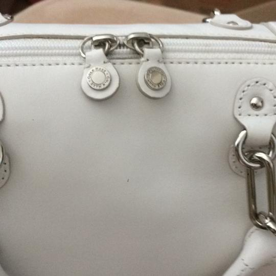 Cole Haan Silver Hardware Chain Link Hardware Zip Top Multi-pocket Ladylike Satchel in white