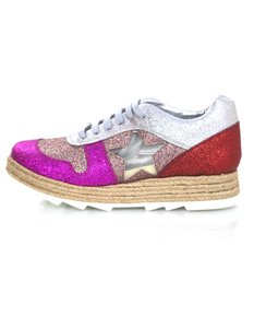 Stella McCartney Espadrille Glitter Star Sneakers Pink, Silver and red Athletic