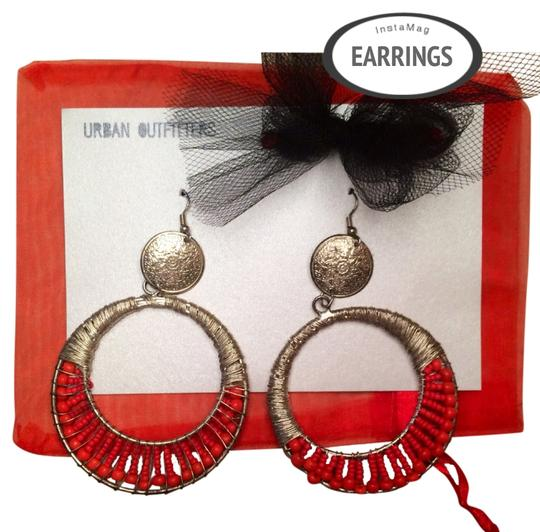 Urban Outfitters New! urban outfitters Red Beaded Silver Chandelier Earrings