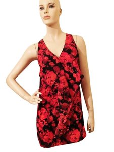 Silence + Noise short dress red Floral Ruffle Crisscross Strap on Tradesy