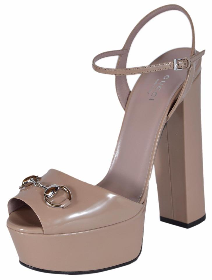 c4bb44f6931821 Gucci Beige Horsebit Patent Platform Sandals Size US 9.5 Regular (M ...