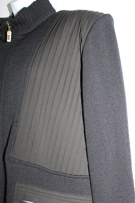 St. John Sport Marie Gray Wool Blend Panel Knit Jacket Xl BLACK Blazer