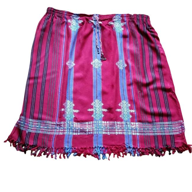 Nandans Vintage Plus-size Striped Fringe Hem Skirt Red