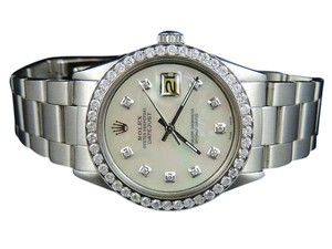 Rolex Mens Stainless Steel Rolex 36MM MOP Dial Diamond Watch 2.5 Ct
