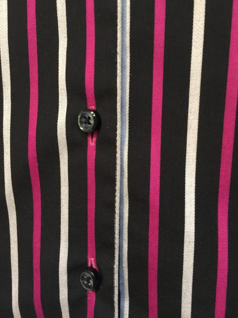 Foxcroft Button Down Shirt Black with fuchsia and white stripes
