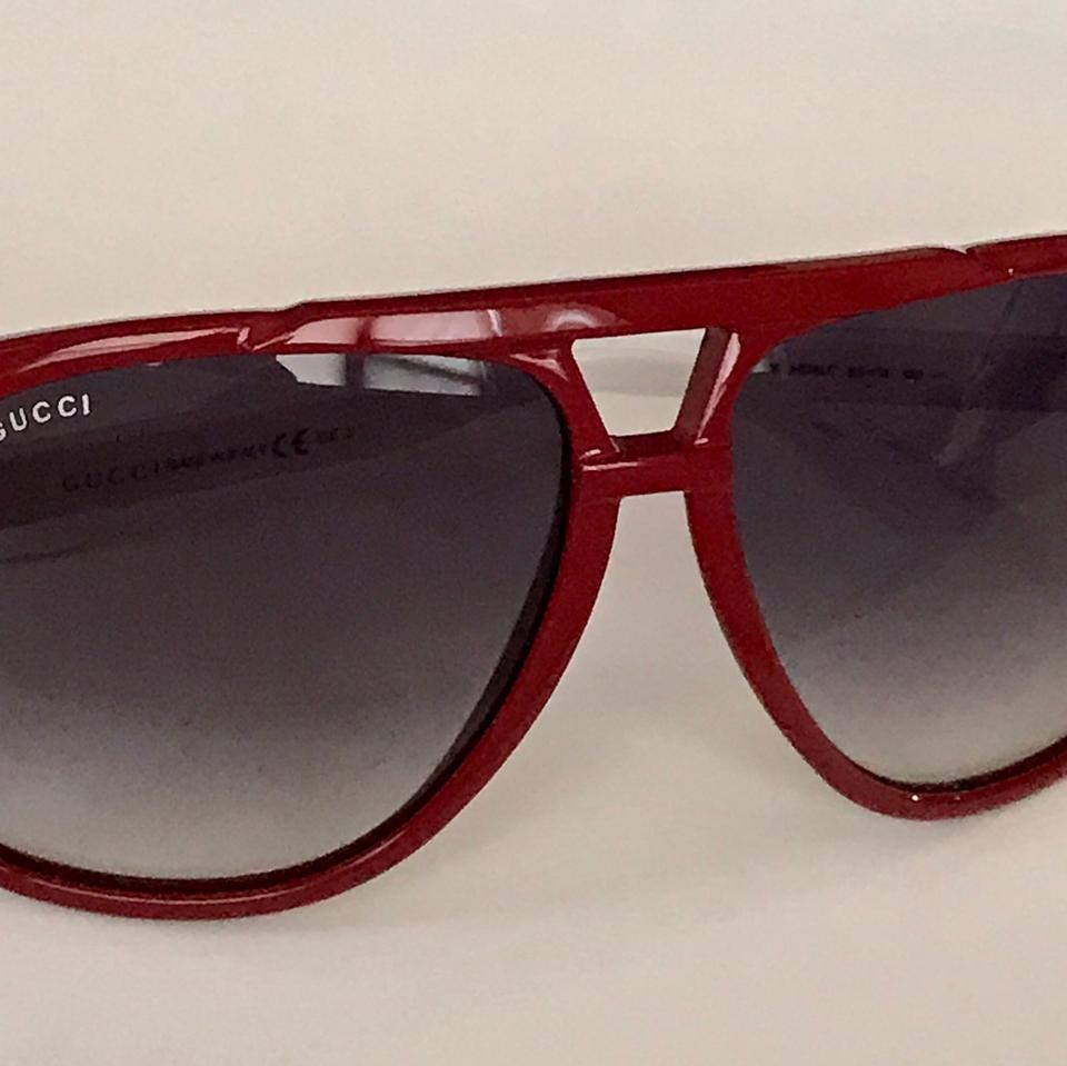 3a1f916b11 Gucci Red Frames with White Legs Aviator 63mm Sunglasses - Tradesy