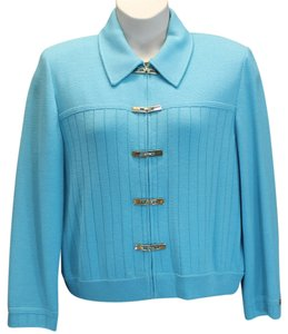 St. John Collection Marie Gray Knit Jacket 14 AQUA Blazer