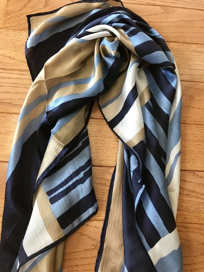 Talbots Talbots Silk Scarf Blue and tan stripe