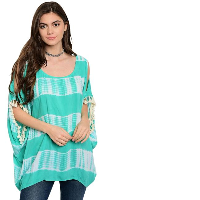 Preload https://img-static.tradesy.com/item/21545624/mint-white-tie-dye-jade-green-cold-shoulder-new-fringe-blouse-size-14-l-0-1-650-650.jpg