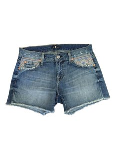 7 For All Mankind Embroidered Aztec Cut Off Shorts Blue Jean